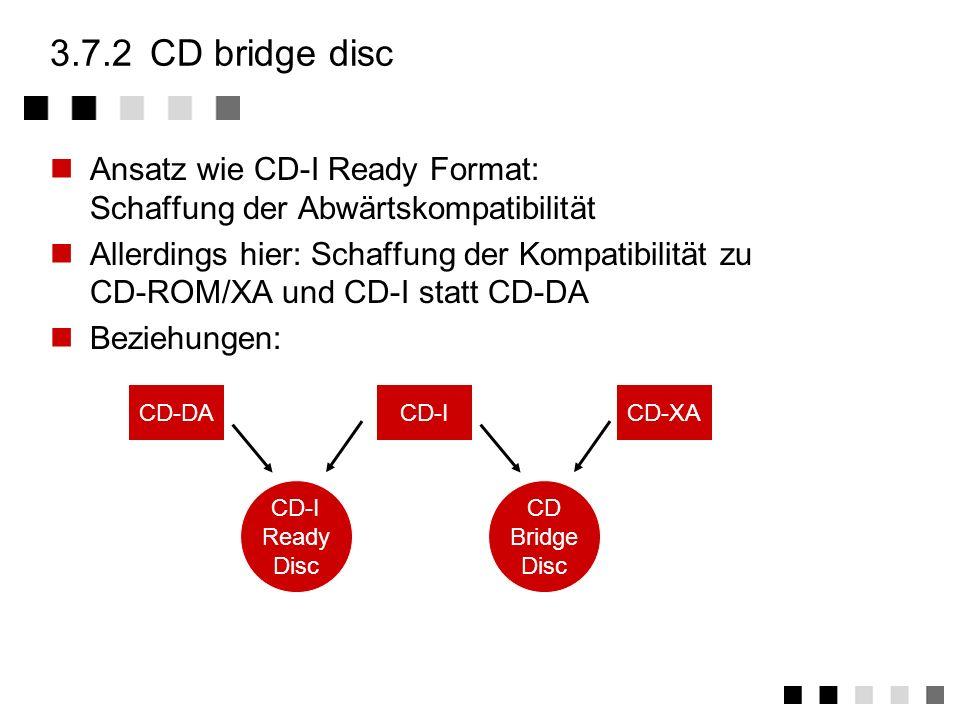 3.7.1CD-I ready format CD-I Speichermedien, d.h. die Audioteile, sollen auch auf CD-DA Abspielgeräten abspielbar sein. Ablage der zusätzlichen (nicht