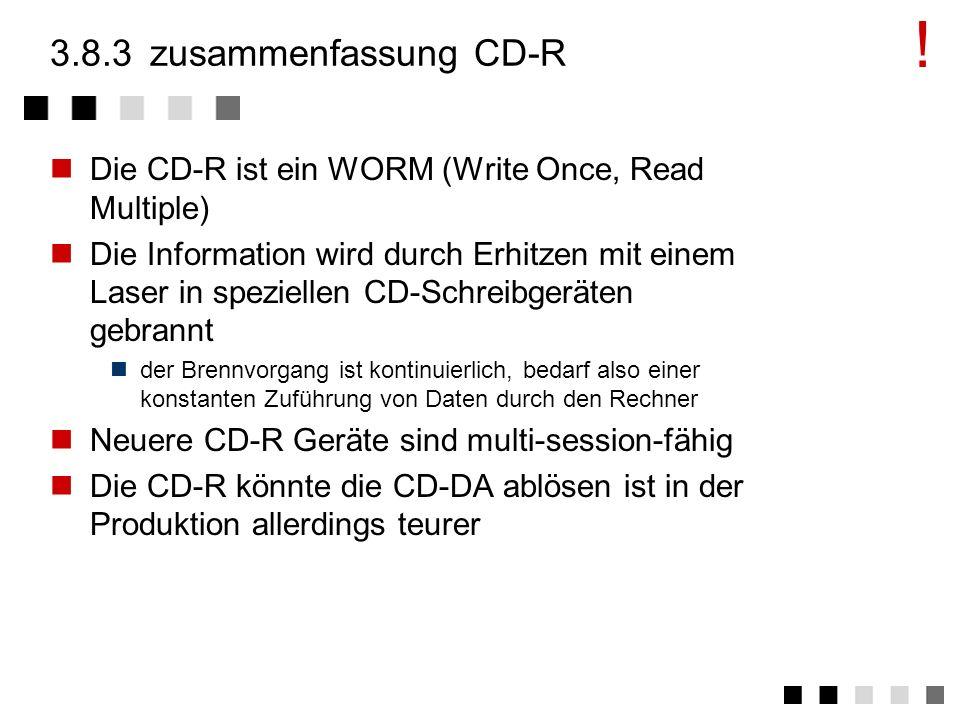 3.8.2logischer aufbau CD-R Abspeichern des Inhaltsverzeichnisses im Lead-IN Vor 1992 konnten Geräte nur einen Lead-In (eine Session) erkennen regular