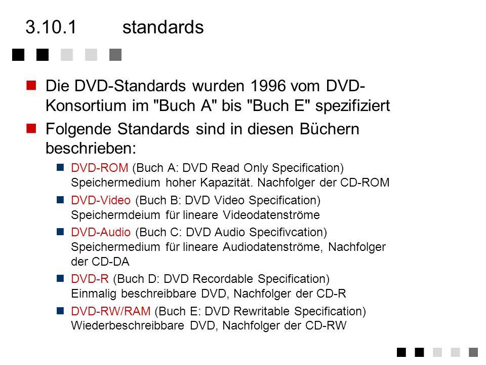 3.10Digital Versatile Disc (DVD) standards versionen technik aufbau dekoder vergleich CD DVD zusammenfassung DVD