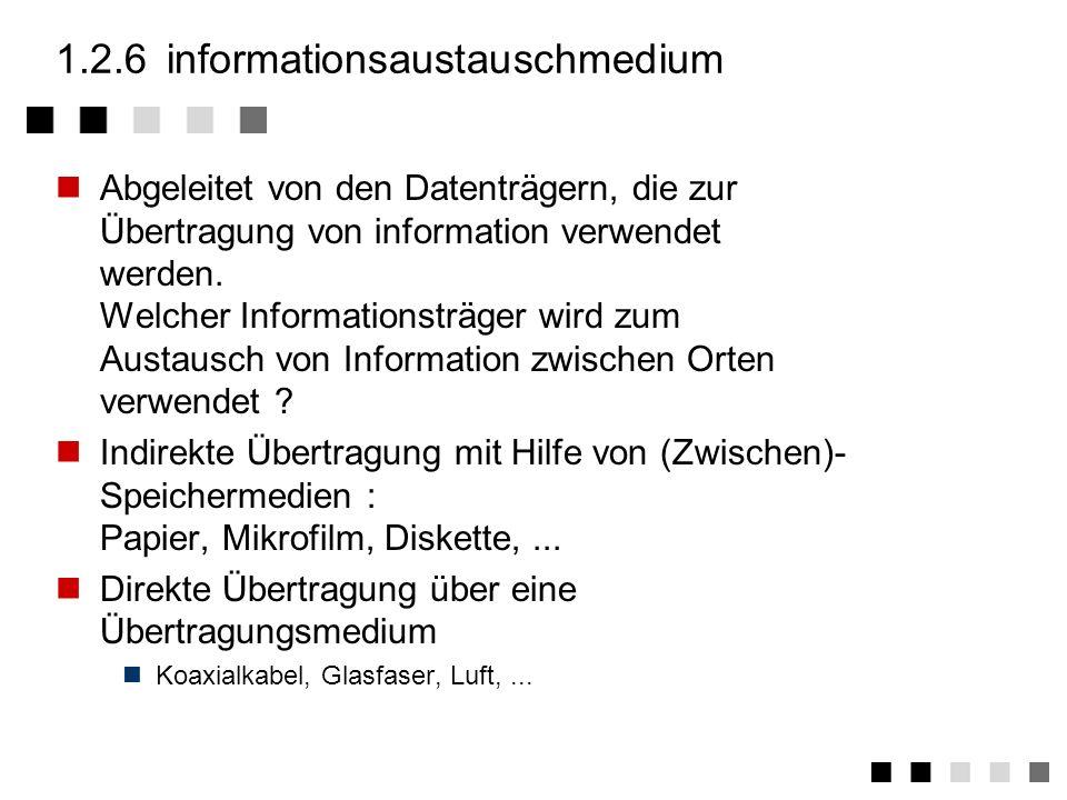 1.2.5übertragungsmedium Abgeleitet vom Träger der Information kontinuierlich übertragen kann. Worüber wird Information übertragen ? Kabelgebundene Übe