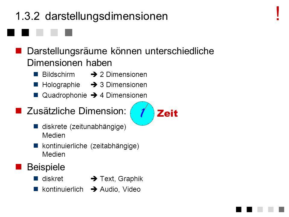1.3.1darstellungsmodell Jedes (Perzeptions-)Medium definiert Darstellungswerte in Darstellungs- räumen, die sich an die fünf Sinne richten Darstellung