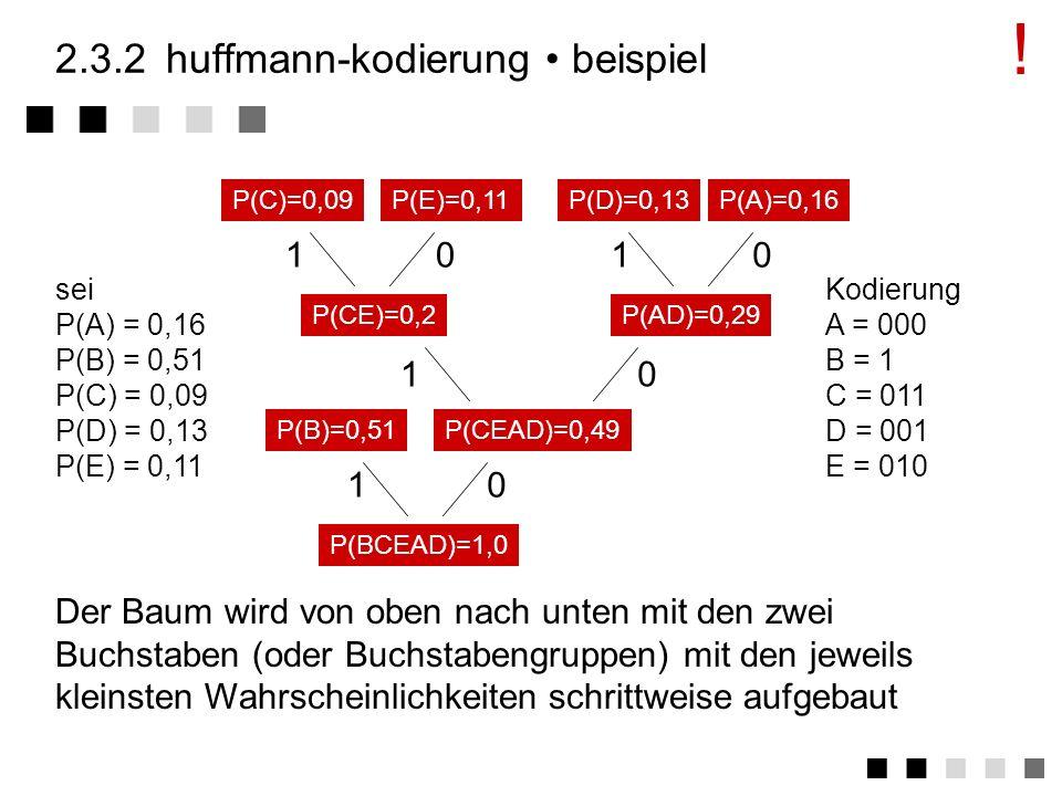 2.3.2huffmann-kodierung Voraussetzung: Es gibt unterschiedliche Häufigkeiten von Bit-Mustern (Bytes) Kodierung Die Häufigkeit des Auftretens der Bitmu