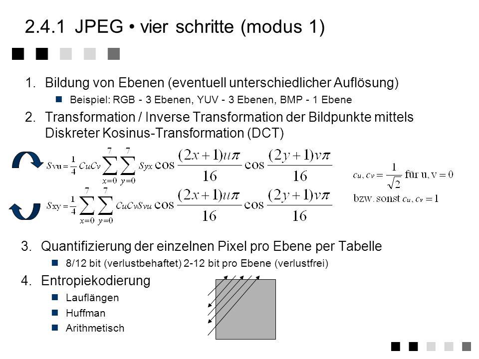 2.4.1JPEG modi und durchführung Verlustbehaftetet DCT-basierter Modus einziger Modus, der von jedem JPEG-Dekoder unterstützt werden muß Erweiterter ve