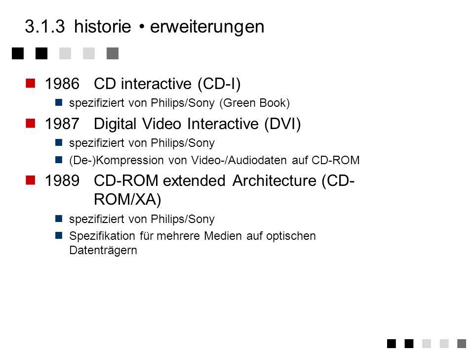 3.1.2historie bis zur CD-ROM 1973Video Long Play (VLP) Bildplatte analoge (wertdiskret, zeitkontinuierlich) Technik wenig Erfolg 1982Compact Disc Digi