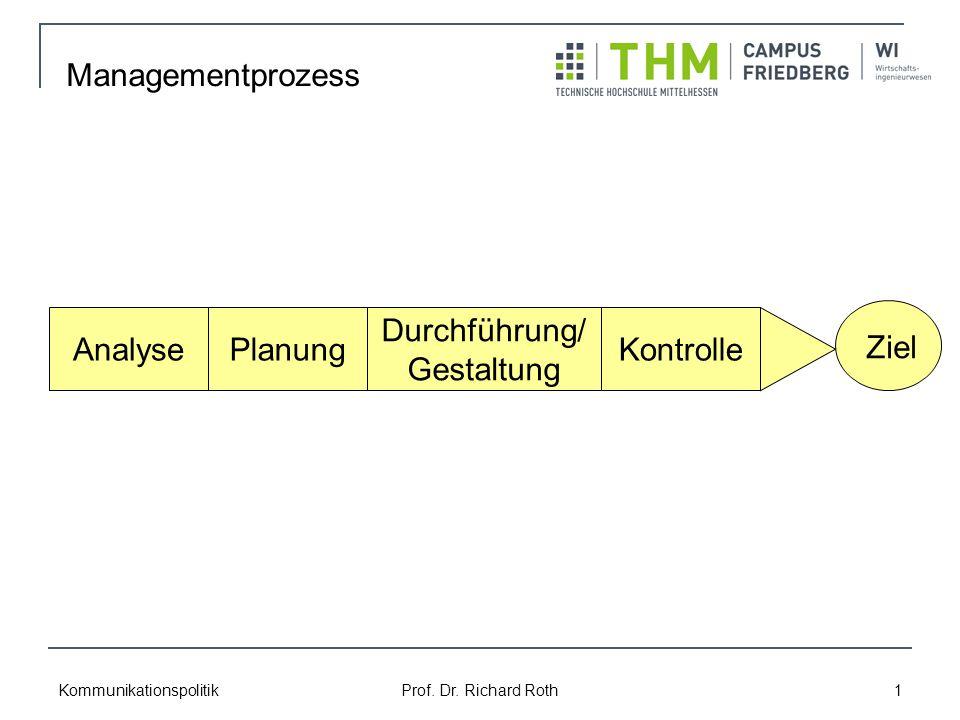 Kommunikationspolitik Prof. Dr. Richard Roth 1 Managementprozess AnalysePlanung Durchführung/ Gestaltung Kontrolle Ziel