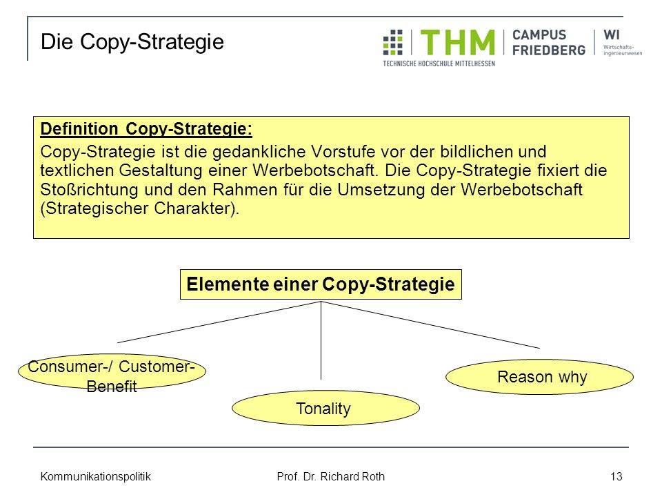 Kommunikationspolitik Prof. Dr. Richard Roth 13 Definition Copy-Strategie: Copy-Strategie ist die gedankliche Vorstufe vor der bildlichen und textlich