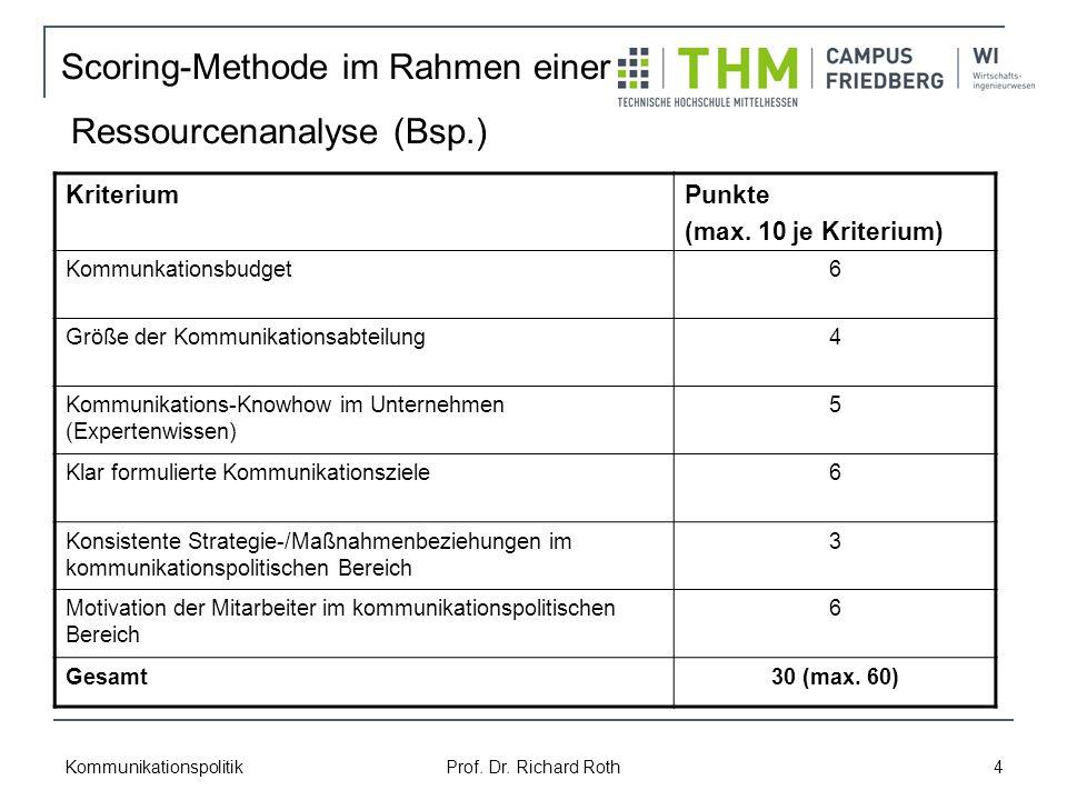 Kommunikationspolitik Prof. Dr. Richard Roth 4 Scoring-Methode im Rahmen einer Ressourcenanalyse (Bsp.) KriteriumPunkte (max. 10 je Kriterium) Kommunk