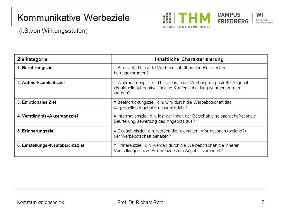 Kommunikationspolitik Prof.Dr. Richard Roth 7 ZielkategorieInhaltliche Charakterisierung 1.