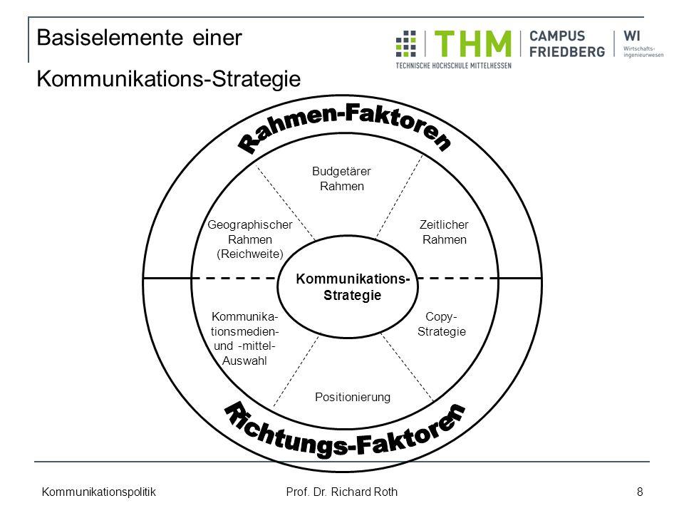 Kommunikationspolitik Prof. Dr. Richard Roth 8 Basiselemente einer Kommunikations-Strategie Geographischer Rahmen (Reichweite) Budgetärer Rahmen Zeitl