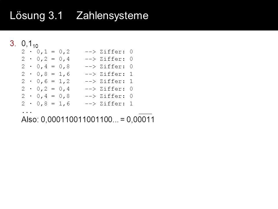 3.0,1 10 2 · 0,1 = 0,2 --> Ziffer: 0 2 · 0,2 = 0,4 --> Ziffer: 0 2 · 0,4 = 0,8 --> Ziffer: 0 2 · 0,8 = 1,6 --> Ziffer: 1 2 · 0,6 = 1,2 --> Ziffer: 1 2 · 0,2 = 0,4 --> Ziffer: 0 2 · 0,4 = 0,8 --> Ziffer: 0 2 · 0,8 = 1,6 --> Ziffer: 1...