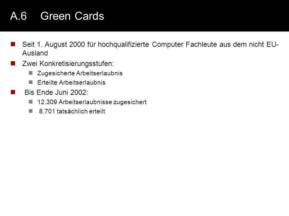 A.6Green Cards Seit 1. August 2000 für hochqualifizierte Computer Fachleute aus dem nicht EU- Ausland Zwei Konkretisierungsstufen: Zugesicherte Arbeit