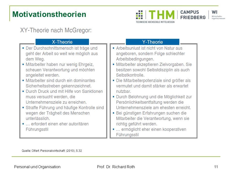 Personal und Organisation Prof. Dr. Richard Roth 11 Motivationstheorien Quelle: Olfert: Personalwirtschaft (2010), S.32