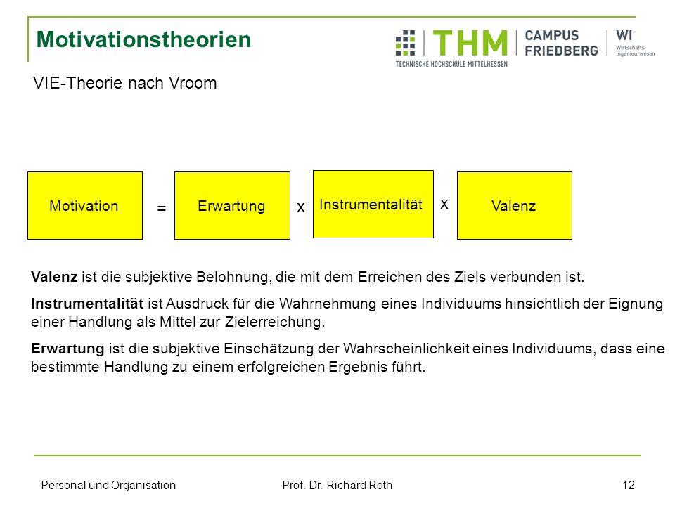Personal und Organisation Prof. Dr. Richard Roth 12 Motivationstheorien VIE-Theorie nach Vroom MotivationErwartung Instrumentalität Valenz = x x Valen