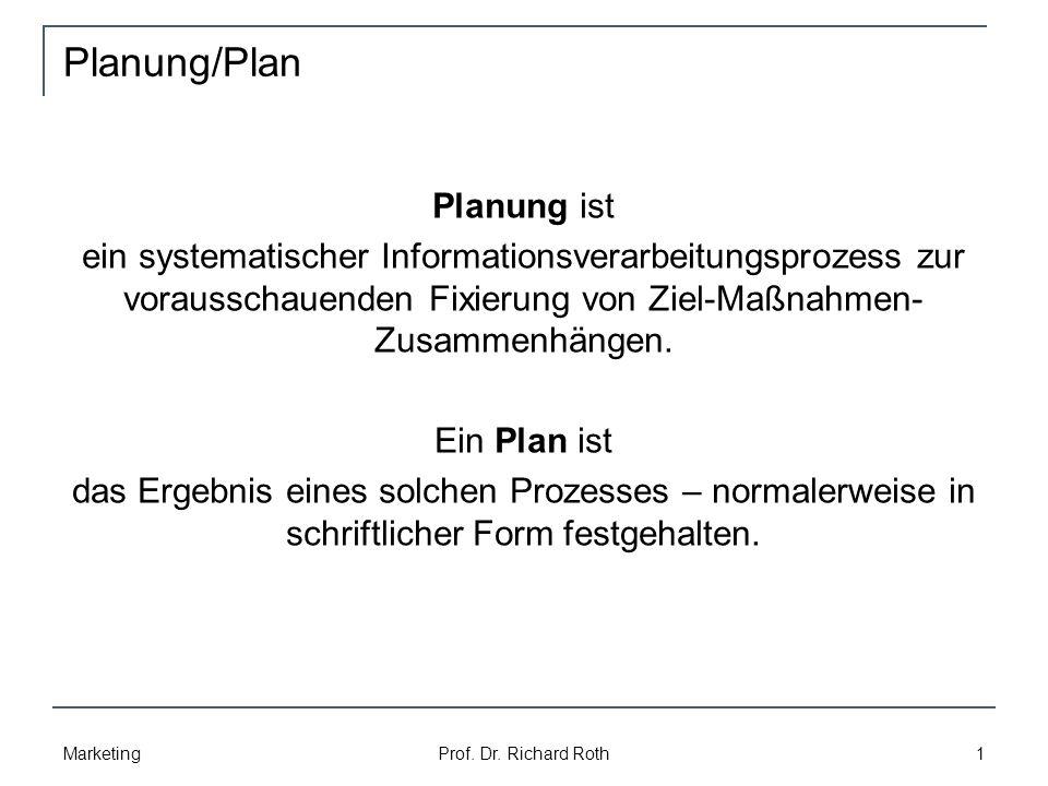 Planung/Plan Marketing Prof.Dr.