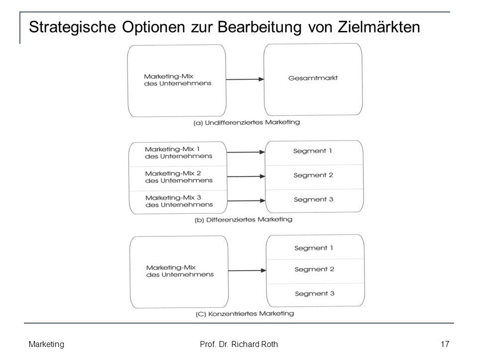 Strategische Optionen zur Bearbeitung von Zielmärkten Marketing Prof. Dr. Richard Roth 17