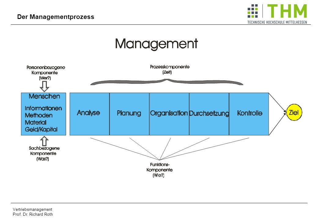 Vertriebsmanagement Prof. Dr. Richard Roth Der Managementprozess