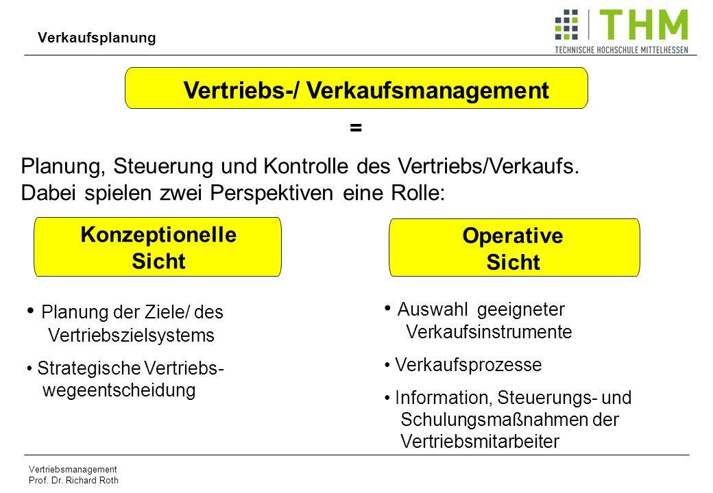 Vertriebsmanagement Prof. Dr. Richard Roth Verkaufsplanung Vertriebs-/ Verkaufsmanagement = Planung, Steuerung und Kontrolle des Vertriebs/Verkaufs. D