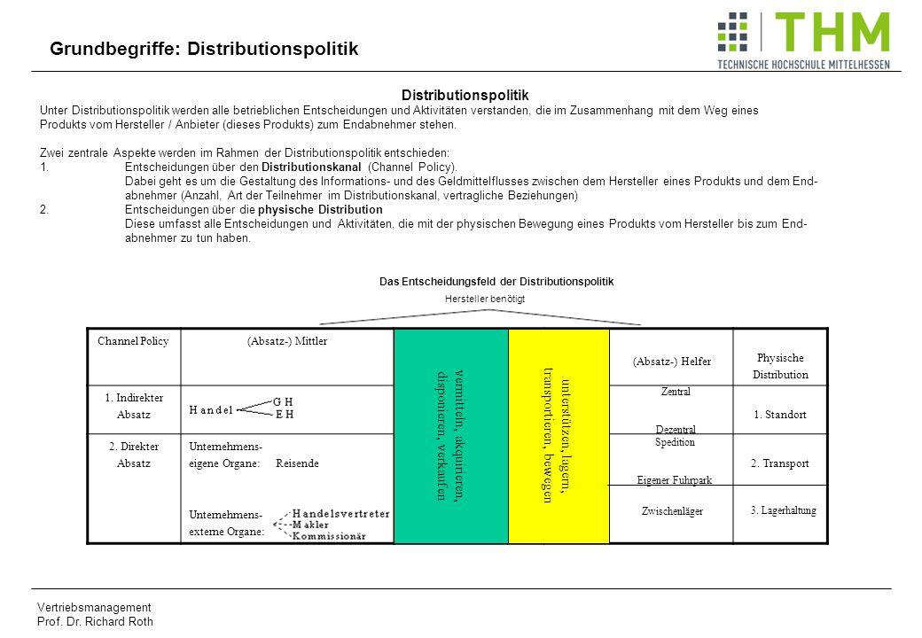 Vertriebsmanagement Prof. Dr. Richard Roth Channel Policy(Absatz-) Mittler (Absatz-) Helfer Physische Distribution 1. Indirekter Absatz 1. Standort 2.