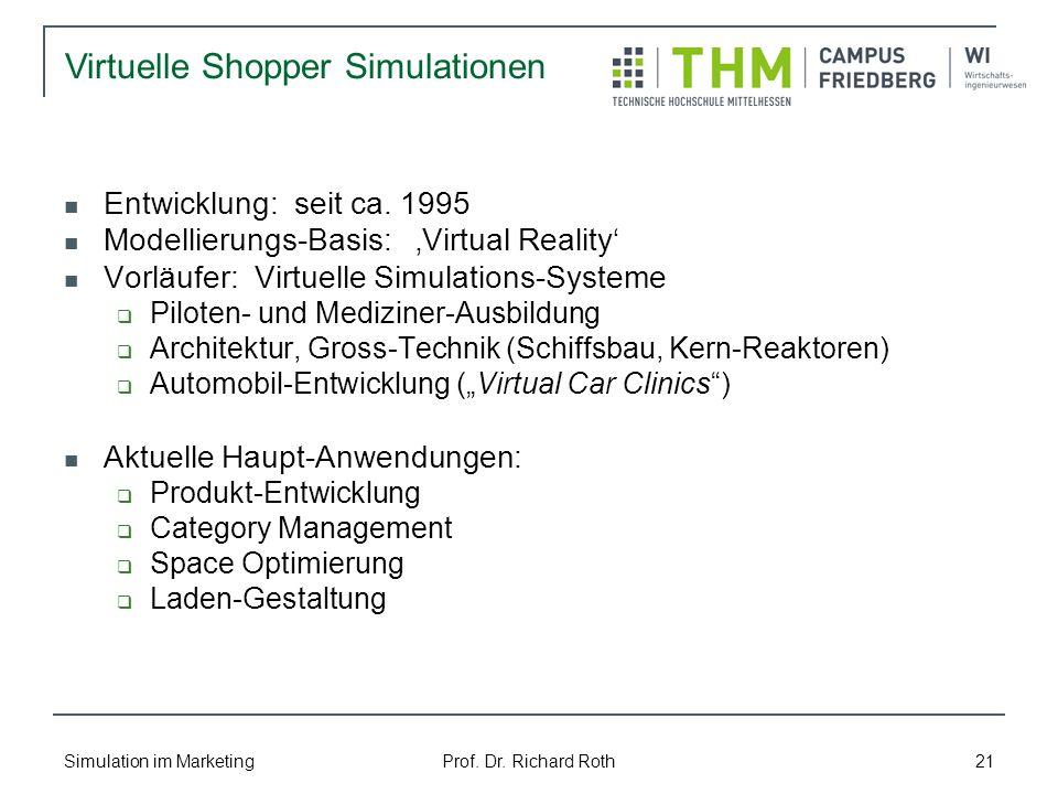 Simulation im Marketing Prof. Dr. Richard Roth 21 Entwicklung: seit ca. 1995 Modellierungs-Basis: Virtual Reality Vorläufer: Virtuelle Simulations-Sys