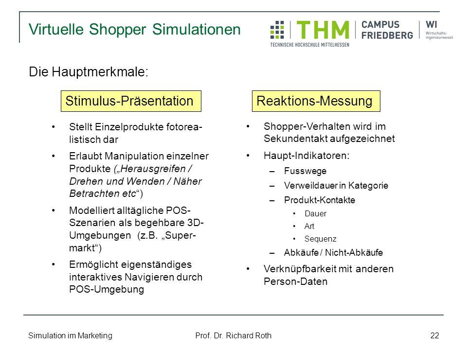 Simulation im Marketing Prof. Dr. Richard Roth 22 Stellt Einzelprodukte fotorea- listisch dar Erlaubt Manipulation einzelner Produkte (Herausgreifen /