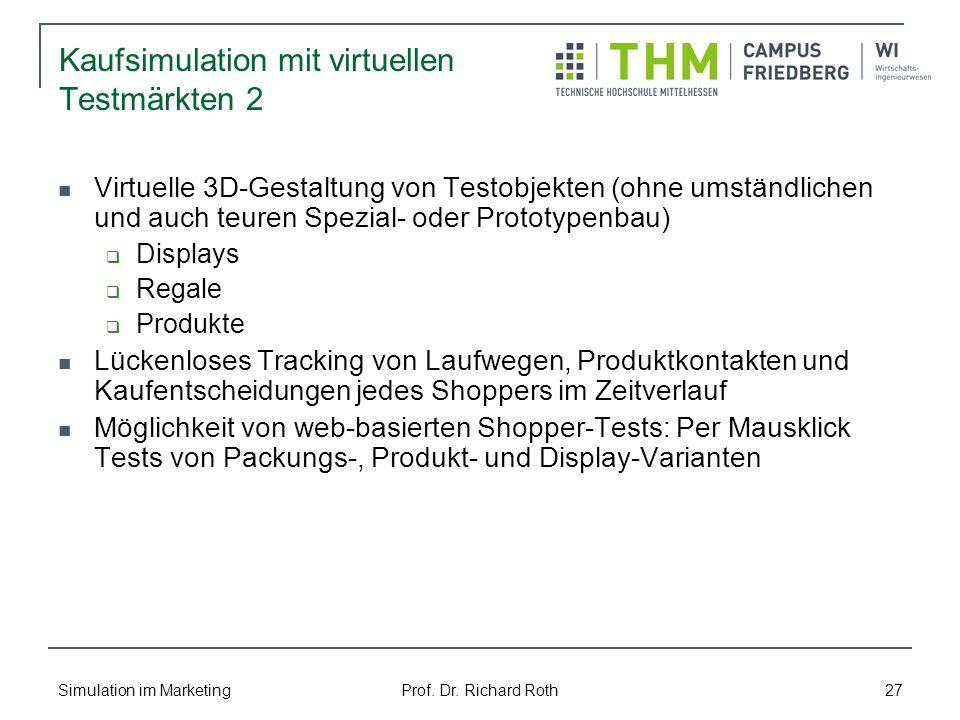 Simulation im Marketing Prof. Dr. Richard Roth 27 Kaufsimulation mit virtuellen Testmärkten 2 Virtuelle 3D-Gestaltung von Testobjekten (ohne umständli