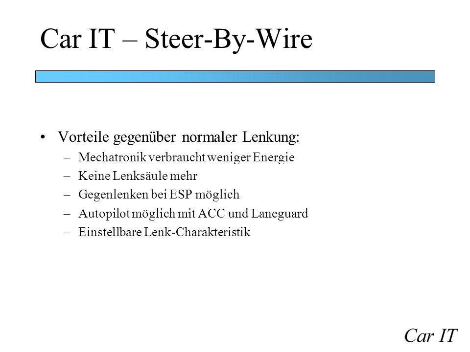 Car IT – Steer-By-Wire Vorteile gegenüber normaler Lenkung: –Mechatronik verbraucht weniger Energie –Keine Lenksäule mehr –Gegenlenken bei ESP möglich