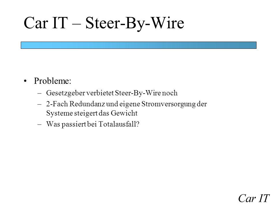 Car IT – Steer-By-Wire Probleme: –Gesetzgeber verbietet Steer-By-Wire noch –2-Fach Redundanz und eigene Stromversorgung der Systeme steigert das Gewic