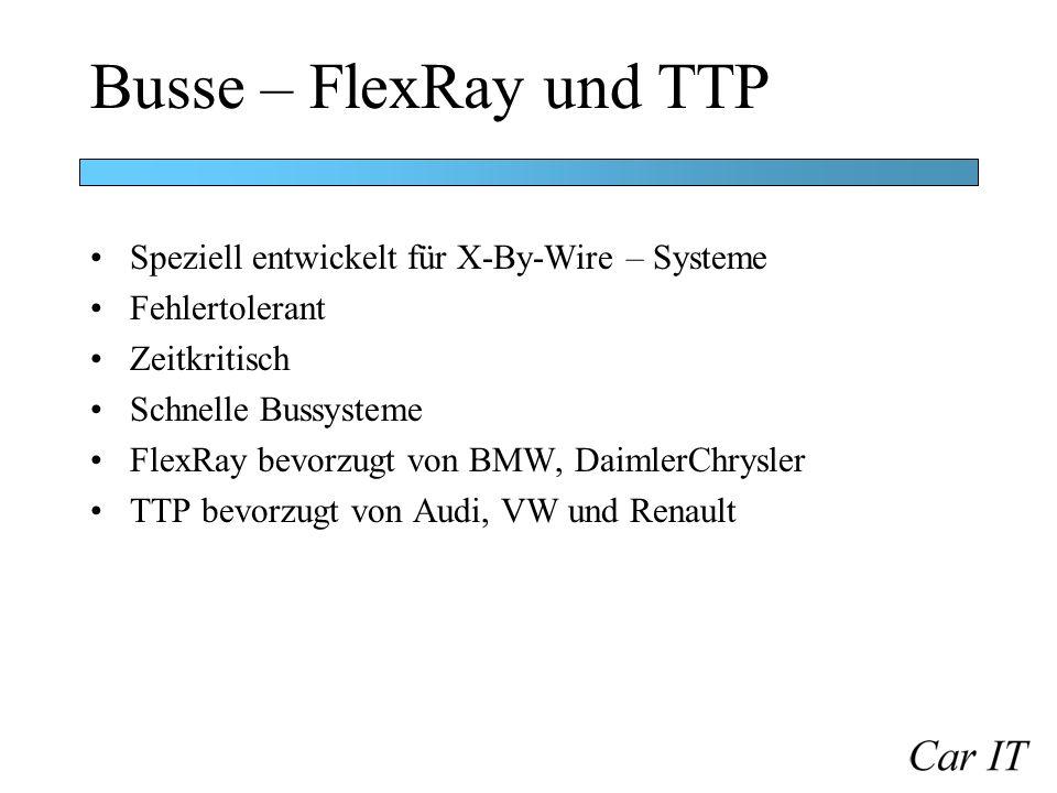 Busse – FlexRay und TTP Speziell entwickelt für X-By-Wire – Systeme Fehlertolerant Zeitkritisch Schnelle Bussysteme FlexRay bevorzugt von BMW, Daimler