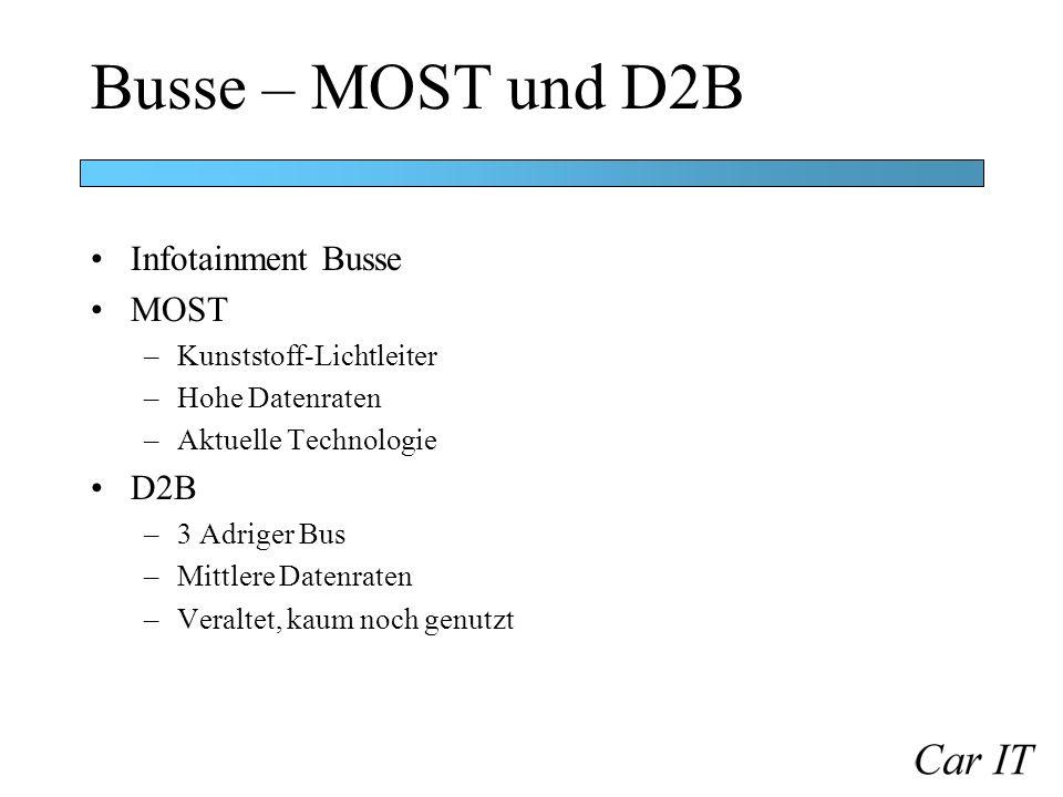 Busse – MOST und D2B Infotainment Busse MOST –Kunststoff-Lichtleiter –Hohe Datenraten –Aktuelle Technologie D2B –3 Adriger Bus –Mittlere Datenraten –V