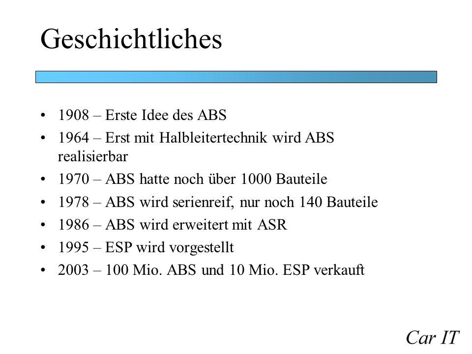 Geschichtliches 1908 – Erste Idee des ABS 1964 – Erst mit Halbleitertechnik wird ABS realisierbar 1970 – ABS hatte noch über 1000 Bauteile 1978 – ABS