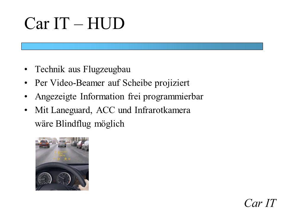 Car IT – HUD Technik aus Flugzeugbau Per Video-Beamer auf Scheibe projiziert Angezeigte Information frei programmierbar Mit Laneguard, ACC und Infraro