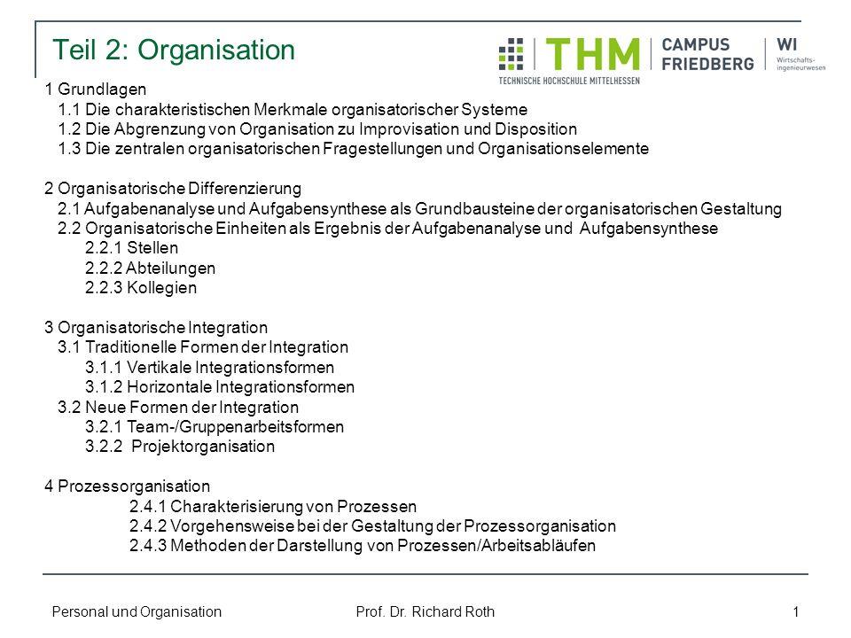 Personal und Organisation Prof. Dr. Richard Roth 1 Teil 2: Organisation 1 Grundlagen 1.1 Die charakteristischen Merkmale organisatorischer Systeme 1.2