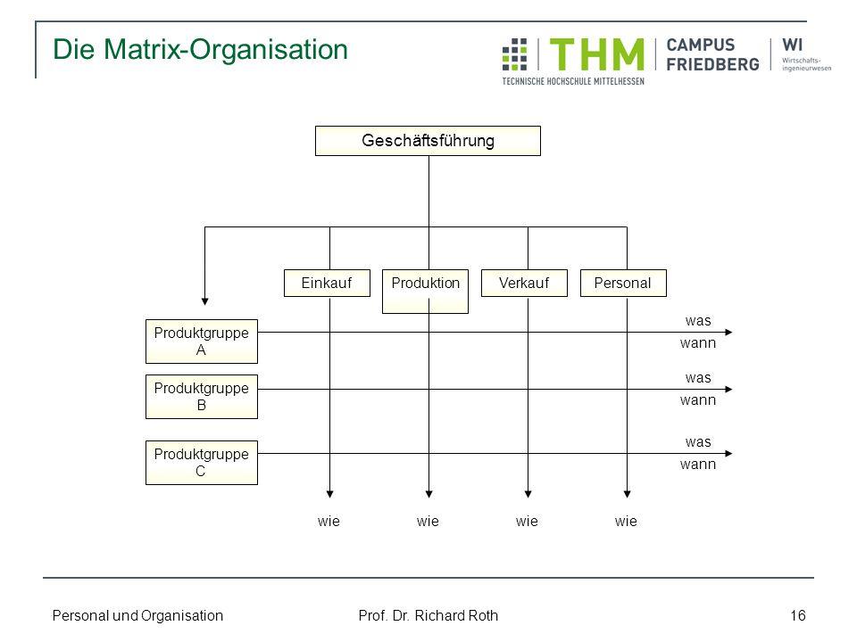 Personal und Organisation Prof. Dr. Richard Roth 16 Die Matrix-Organisation Produktgruppe A Produktgruppe B Produktgruppe C ProduktionVerkaufPersonalE