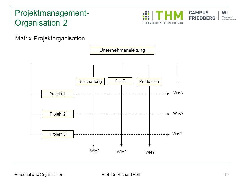 Personal und Organisation Prof. Dr. Richard Roth 18 Projektmanagement- Organisation 2 Projekt 1 Projekt 2 Projekt 3 F + E ProduktionBeschaffung Untern