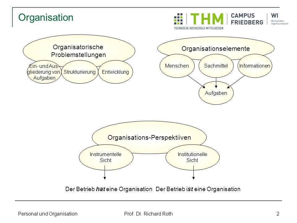 Personal und Organisation Prof. Dr. Richard Roth 2 Organisation Organisatorische Problemstellungen Ein- und Aus- gliederung von Aufgaben Strukturierun