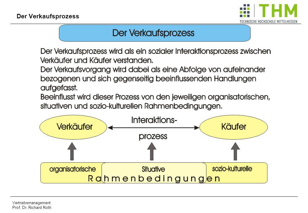 Vertriebsmanagement Prof. Dr. Richard Roth Der Verkaufsprozess