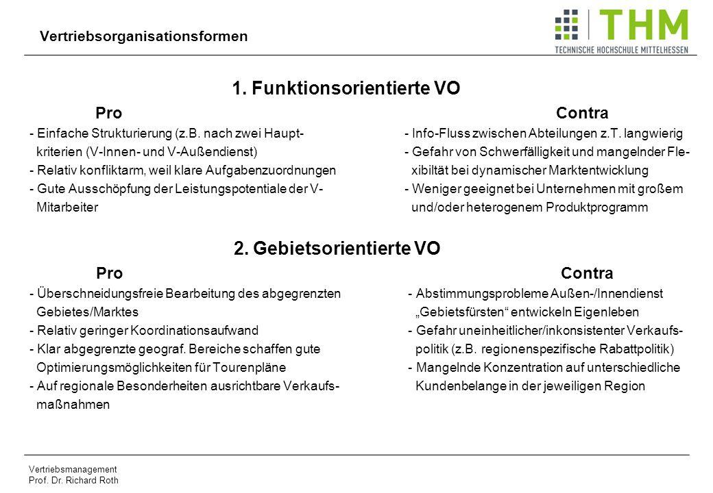 Vertriebsmanagement Prof. Dr. Richard Roth Vertriebsorganisationsformen 1. Funktionsorientierte VO Pro Contra - Einfache Strukturierung (z.B. nach zwe
