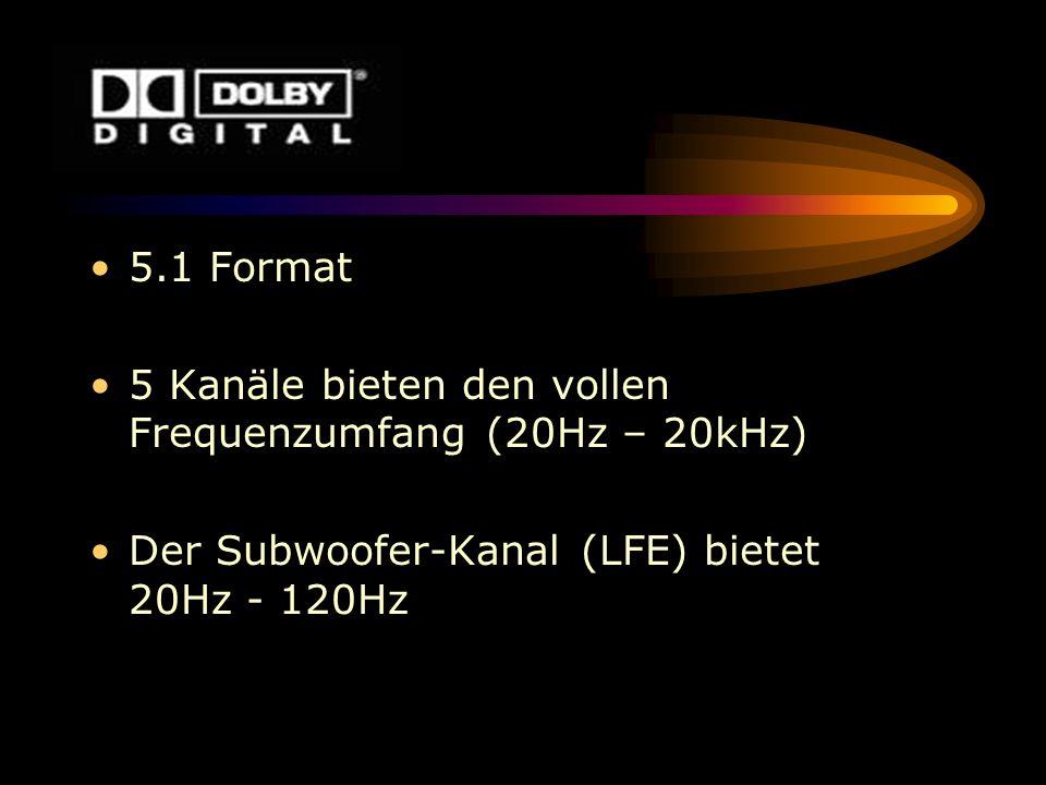 5.1 Format 5 Kanäle bieten den vollen Frequenzumfang (20Hz – 20kHz) Der Subwoofer-Kanal (LFE) bietet 20Hz - 120Hz
