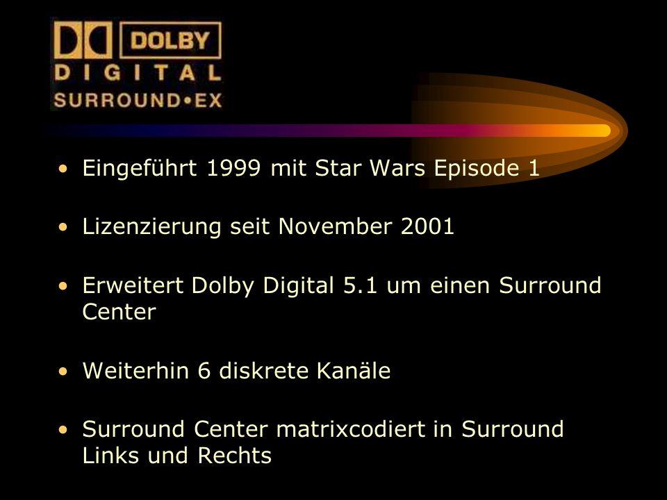 Eingeführt 1999 mit Star Wars Episode 1 Lizenzierung seit November 2001 Erweitert Dolby Digital 5.1 um einen Surround Center Weiterhin 6 diskrete Kanä
