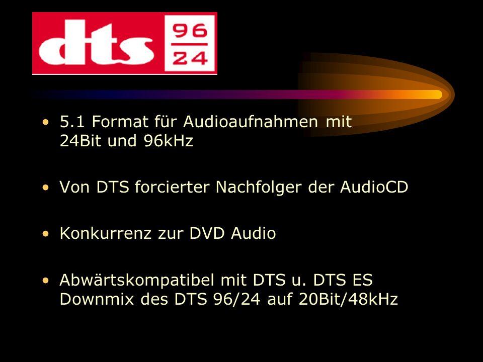 5.1 Format für Audioaufnahmen mit 24Bit und 96kHz Von DTS forcierter Nachfolger der AudioCD Konkurrenz zur DVD Audio Abwärtskompatibel mit DTS u. DTS