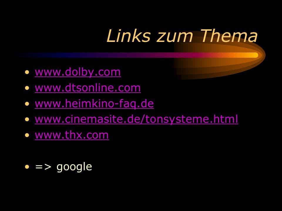Links zum Thema www.dolby.com www.dtsonline.com www.heimkino-faq.de www.cinemasite.de/tonsysteme.html www.thx.com => google