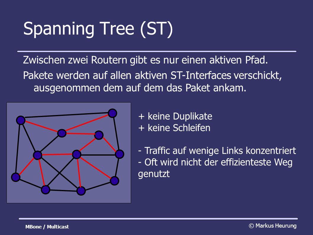 Spanning Tree (ST) Zwischen zwei Routern gibt es nur einen aktiven Pfad.