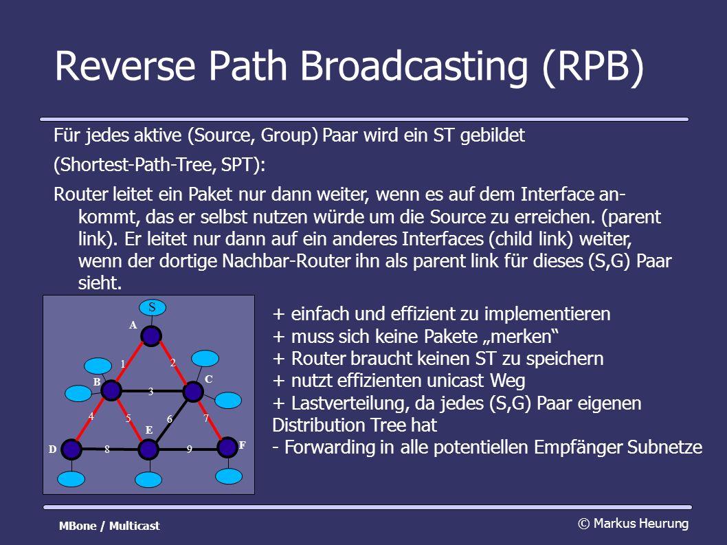 Reverse Path Broadcasting (RPB) Für jedes aktive (Source, Group) Paar wird ein ST gebildet (Shortest-Path-Tree, SPT): Router leitet ein Paket nur dann weiter, wenn es auf dem Interface an- kommt, das er selbst nutzen würde um die Source zu erreichen.