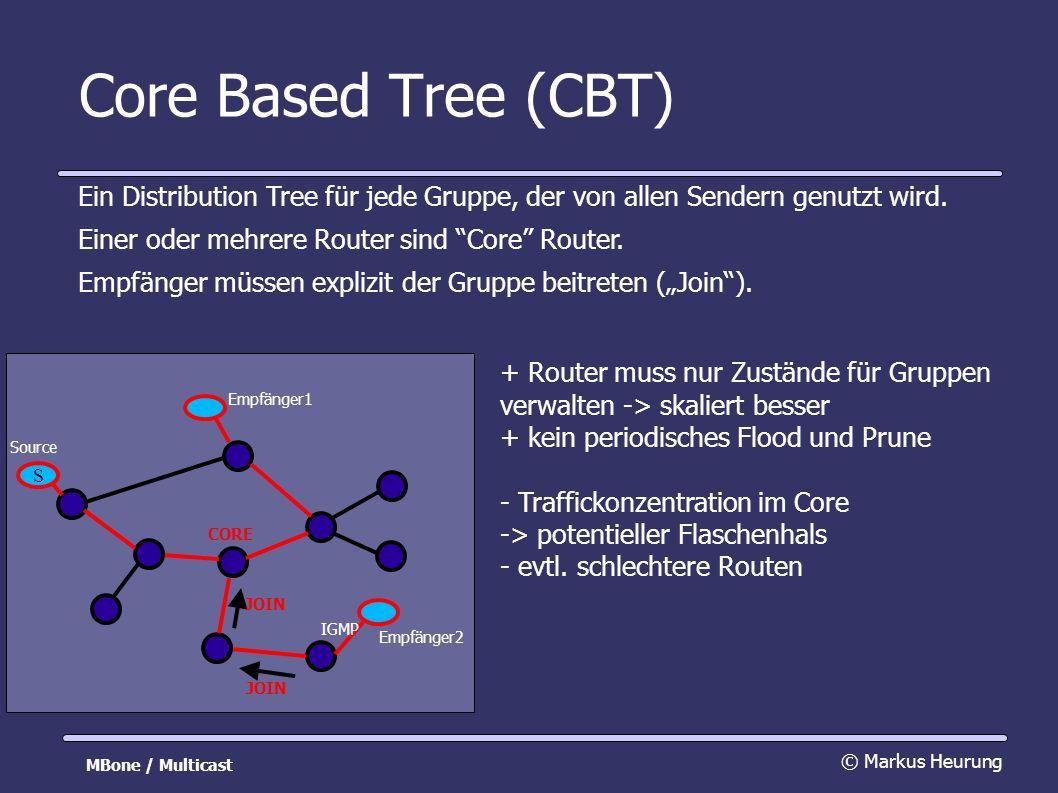 Core Based Tree (CBT) Ein Distribution Tree für jede Gruppe, der von allen Sendern genutzt wird.