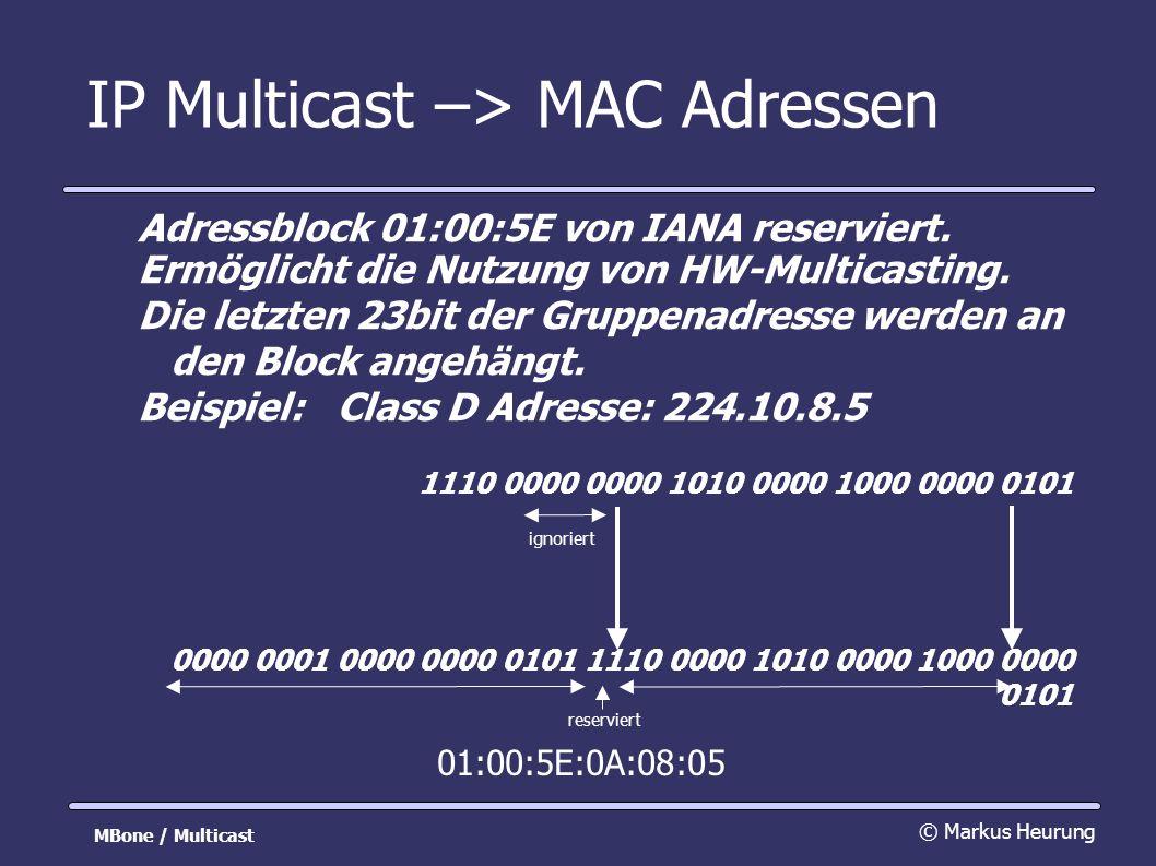 IP Multicast –> MAC Adressen Adressblock 01:00:5E von IANA reserviert. Ermöglicht die Nutzung von HW-Multicasting. Die letzten 23bit der Gruppenadress