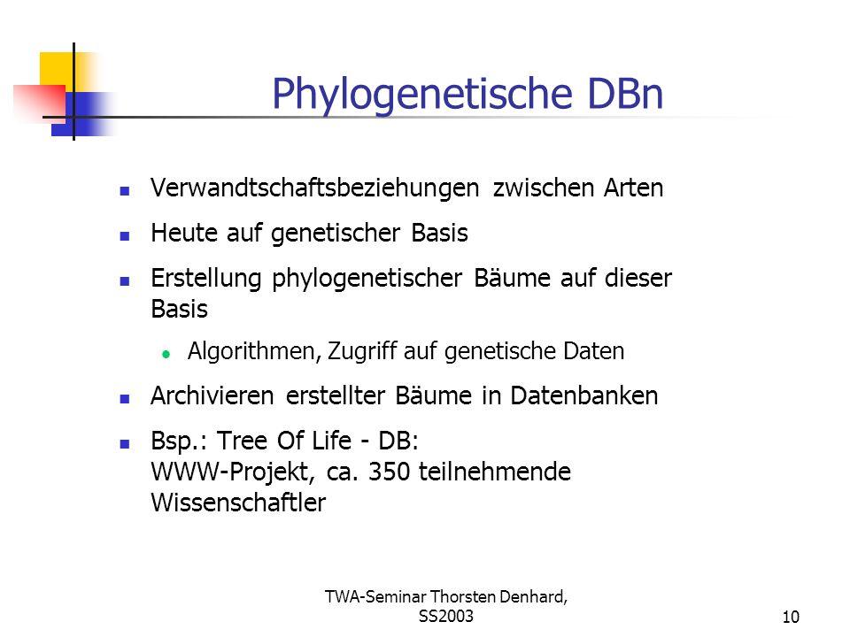 TWA-Seminar Thorsten Denhard, SS200310 Phylogenetische DBn Verwandtschaftsbeziehungen zwischen Arten Heute auf genetischer Basis Erstellung phylogenet