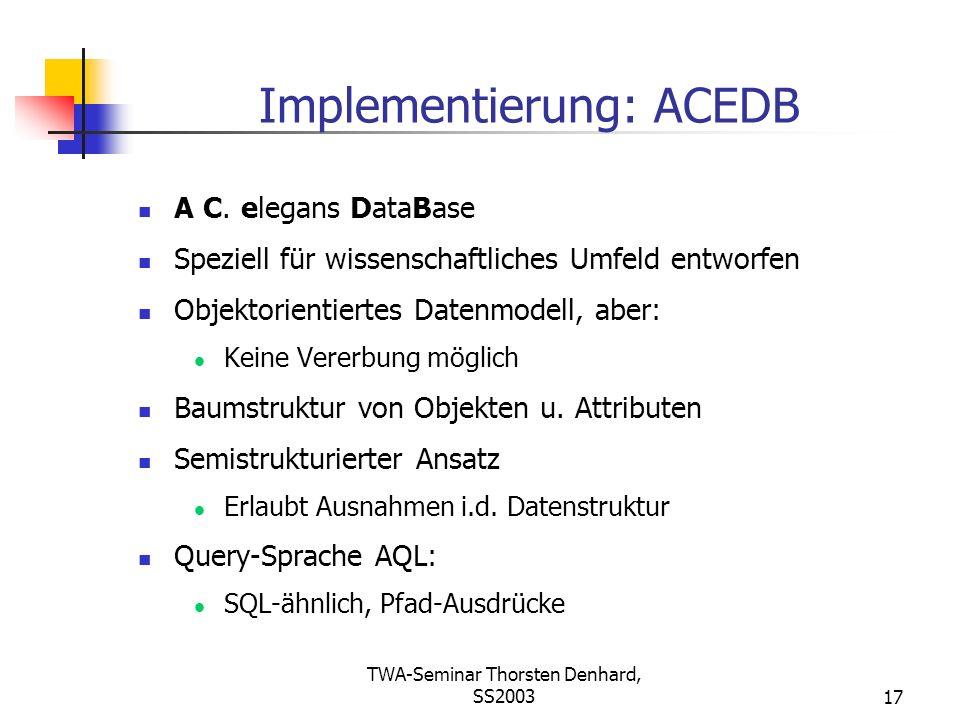 TWA-Seminar Thorsten Denhard, SS200317 Implementierung: ACEDB A C. elegans DataBase Speziell für wissenschaftliches Umfeld entworfen Objektorientierte