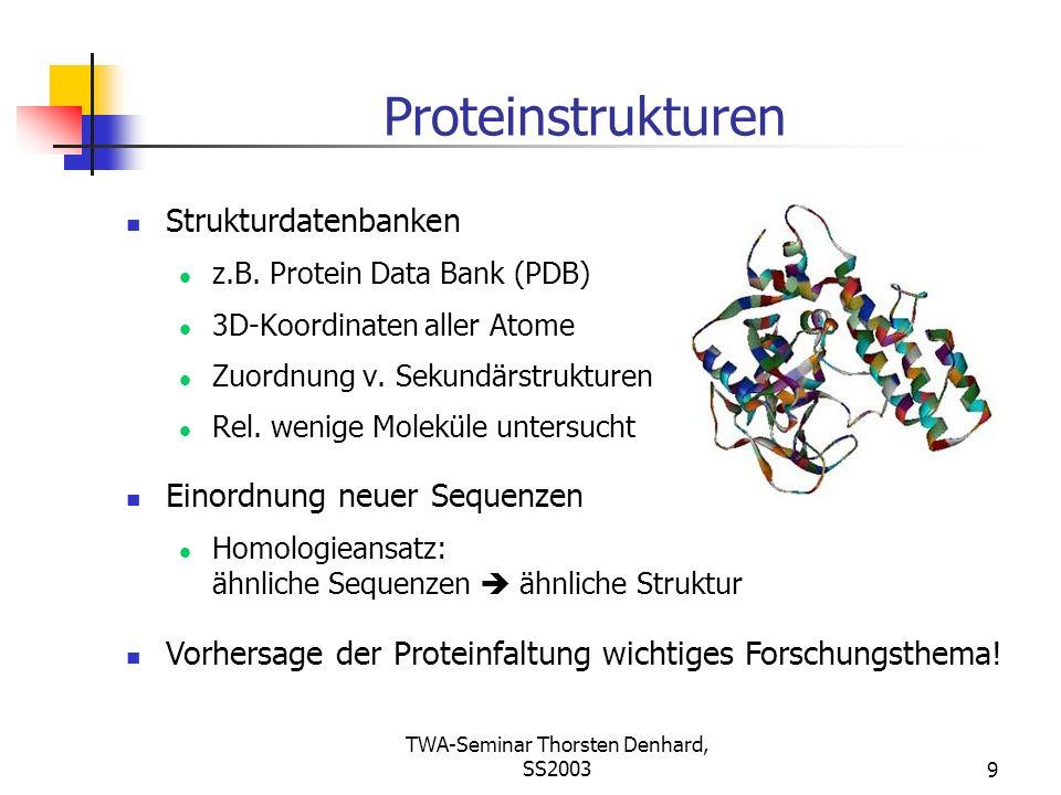 TWA-Seminar Thorsten Denhard, SS20039 Proteinstrukturen Strukturdatenbanken z.B. Protein Data Bank (PDB) 3D-Koordinaten aller Atome Zuordnung v. Sekun
