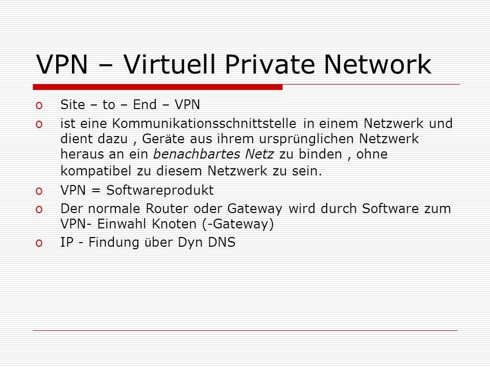 VPN – Virtuell Private Network oSite – to – End – VPN oist eine Kommunikationsschnittstelle in einem Netzwerk und dient dazu, Ger ä te aus ihrem urspr