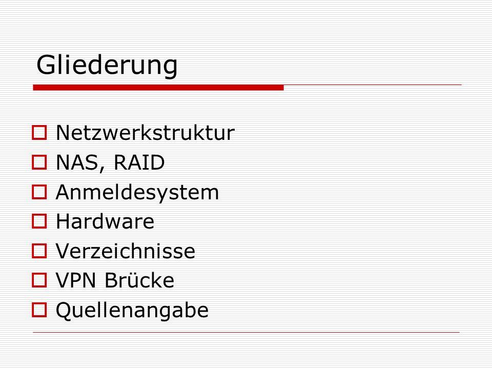 Gliederung Netzwerkstruktur NAS, RAID Anmeldesystem Hardware Verzeichnisse VPN Brücke Quellenangabe
